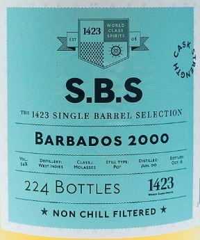 1423 S.B.S. Barbados (WIRD) 2000 16 YO Rum – Review